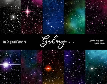 """Galaxy Digital Papers, Space, Universe, Sky, Stars, Night Sky, 10 Digital Papers (12""""x12""""), Commercial Use, INSTANT DOWNLOAD"""