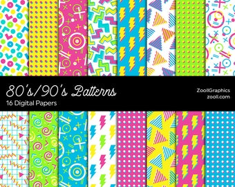 """80's/90's Patterns, Digital Paper, 16 Digital Papers 12""""x12"""", Photoshop Pattern File PAT Included, Seamless, Commercial Use INSTANT DOWNLOAD"""