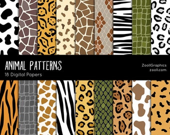 "Animal Patterns, 18 Digital Papers (12""x12""), Photoshop Pattern File .PAT Included, Seamless, Commercial Use, INSTANT DOWNLOAD"