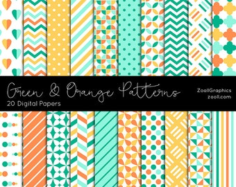 "Green And Orange Patterns, 20 Digital Papers 12""x12"", Photoshop Pattern File PAT Included, Seamless, Commercial Use, INSTANT DOWNLOAD"