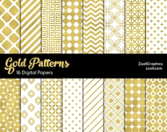"Gold Patterns, Digital Paper, 16 Digital Papers (12""x12""), Photoshop Pattern File .PAT Included, Seamless, Commercial Use, INSTANT DOWNLOAD"