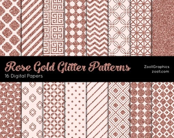 "Rose Gold Glitter Patterns, 16 Digital Papers (12""x12""), Photoshop Pattern File .PAT Included, Seamless, Commercial Use INSTANT DOWNLOAD"