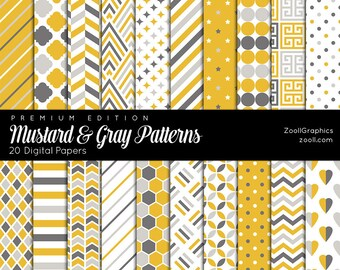 """SALE 50% Mustard & Gray Patterns, 20 Digital Papers 12""""x12"""", Photoshop Pattern File PAT Included, Seamless, Commercial Use  Instant DOWNLOAD"""
