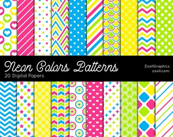 """Neon Colors Patterns, 20 Digital Papers (12""""x12""""), Photoshop Pattern File PAT Included, Seamless, Commercial Use INSTANT DOWNLOAD"""