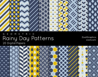 """Rainy Day Geometric Patterns, 20 Digital Papers 12""""x12"""", Photoshop Pattern File PAT Included, Seamless, Commercial Use, INSTANT DOWNLOAD"""