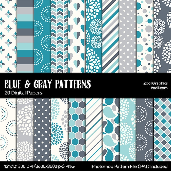 Blue And Gray Grey Patterns Digital Paper 20 Digital Papers Etsy
