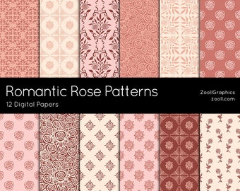 """Romantic Rose Patterns, 12 Digital Papers 12""""x12"""", Photoshop Pattern File PAT Included, Seamless, Commercial Use, INSTANT DOWNLOAD"""
