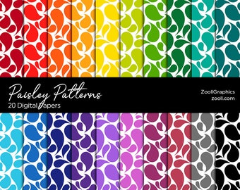 """Paisley Patterns, 20 Digital Papers 12""""x12"""", PAT File Included, Rainbow Scrapbook Paper, Seamless Paper, Commercial Use, INSTANT DOWNLOAD"""