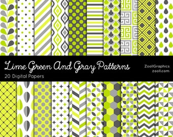 "Lime Green And Gray Patterns, 20 Digital Papers (12""x12""), Photoshop Pattern File PAT Included, Seamless, Commercial Use INSTANT DOWNLOAD"