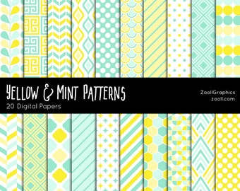 "Yellow And Mint Patterns, 20 Digital Papers (12""x12""), Photoshop Pattern File .PAT Included, Seamless, Commercial Use INSTANT DOWNLOAD"