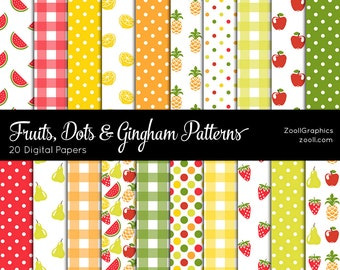 """Fruits, Dots & Gingham Patterns, 20 Digital Papers (12""""x12""""), Photoshop Pattern File PAT Included, Seamless, Commercial Use INSTANT DOWNLOAD"""