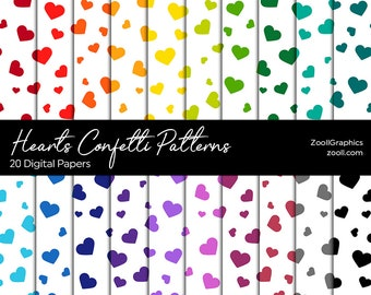 """Hearts Confetti Patterns, 20 Digital Papers 12""""x12"""", PAT File Included, Rainbow Scrapbook Paper, Seamless, Commercial Use, INSTANT DOWNLOAD"""