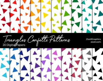 Triangles Confetti Patterns, 20 Digital Papers 12x12, PAT File Included, Rainbow Scrapbook Paper, Seamless, Commercial Use, INSTANT DOWNLOAD