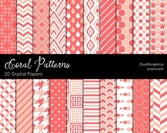 "Coral Patterns, 20 Digital Papers (12""x12""), Photoshop Pattern File .PAT Included, Seamless, Commercial Use, INSTANT DOWNLOAD"