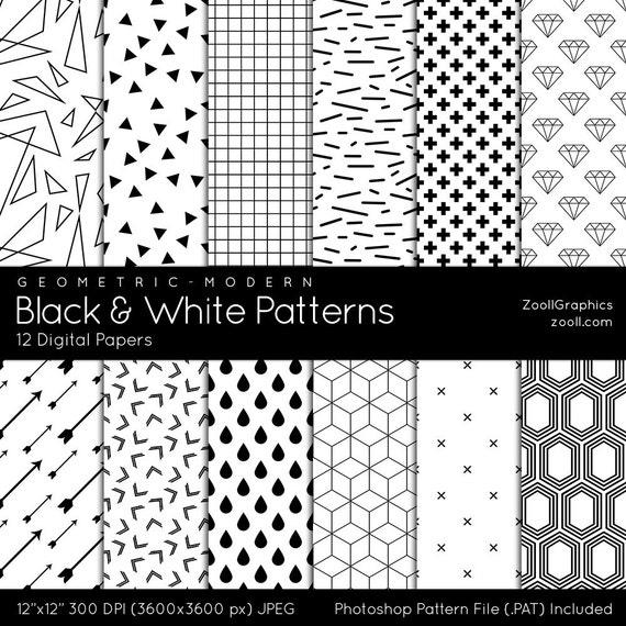 Patrones geométrico moderno de blanco y negro 12 documentos | Etsy