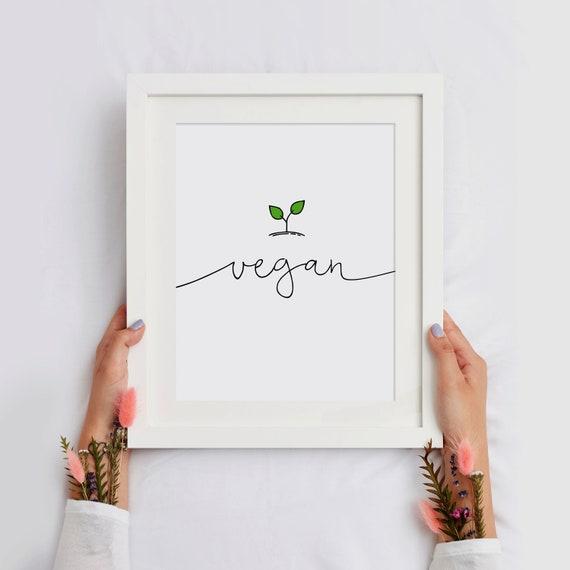Vegan Print, Printable Art, Vegan Typography Print, Minimalistic Print, Black And White, 16x20, INSTANT DOWNLOAD