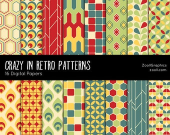 """SALE 50% Crazy In Retro Patterns, 16 Digital Papers 12""""x12"""", Photoshop Pattern File PAT Included, Seamless, Commercial Use, Instant DOWNLOAD"""
