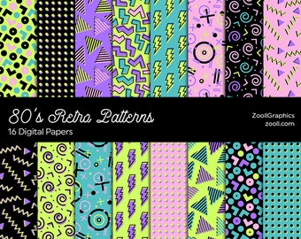 """80's Retro Patterns, 80's/90's Patterns, 16 Digital Papers 12""""x12"""", PAT File Included, Seamless Retro Background, INSTANT DOWNLOAD"""