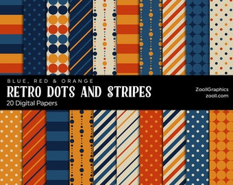 """Retro  Dots And Stripes Patterns – Blue, Red And Orange, 20 Digital Papers 12""""x12"""", PAT File Included, Seamless Retro Paper INSTANT DOWNLOAD"""