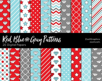 """Red, Blue And Gray Patterns, 20 Digital Papers (12""""x12""""), Photoshop Pattern File PAT Included, Seamless, Commercial Use INSTANT DOWNLOAD"""