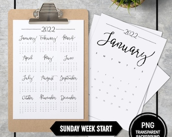 Calendar 2022 A4 Printable, Sunday Week Start, Minimal, Stationery, Monthly Planner 8.5x11 A4 Transparent Background, INSTANT DOWNLOAD