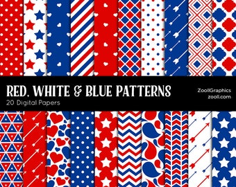"""Red, White & Blue Patterns, 20 Digital Papers 12""""x12"""", Photoshop Pattern File PAT Included, Seamless, Commercial Use, INSTANT DOWNLOAD"""