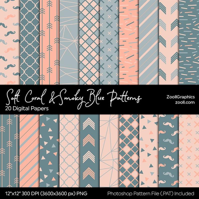 Soft Coral & Smoky Blue Patterns Digital Paper 20 Digital image 0