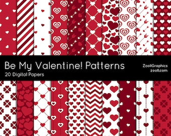 "Be My Valentine Patterns, 20 Digital Papers (12""x12""), Photoshop Pattern File PAT Included, Seamless, Commercial Use INSTANT DOWNLOAD"