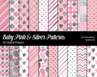 """Baby Pink & Silver Patterns, 20 Digital Papers 12""""x12"""", Baby Shower Background, PAT File, Seamless Paper, Commercial Use, INSTANT DOWNLOAD"""