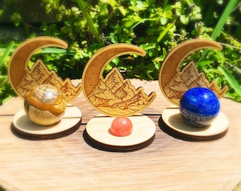 Wholesale lot of 10 moon wood sphere stands, sphere stands, sphere display stand, wood sphere holder, wood sphere stand, moon sphere stand