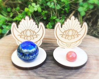 Lotus sphere stands, sphere stands, wood sphere stands, wholesale sphere stands, sphere holders, moon sphere stands