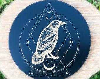 Celestial crow raven crystal grid, crystal grid, altar decoration, crow grid, raven grid, celestial grid