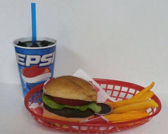 Fake food diner car hop cheeseburger w/fries and pepsi basket set ships free in the usa