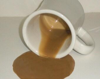 Fake food spilled mug of coffee