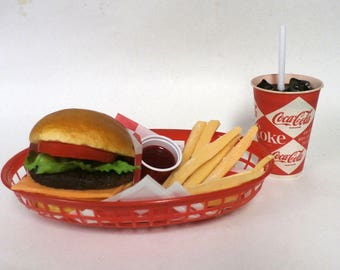 Fake food diner car hop cheeseburger basket w/ fries and 60's diamond coke