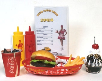 Fake food diner car hop cheeseburger meal /fries /60's coke/ ships free in the us