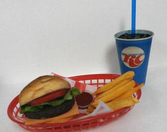 fake food car hop diner cheeseburger basket with an original RCcola cup ships free in the usa