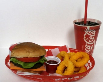 Fake food car hop diner cheeseburger w/onion rings and coke basket ships free in the usa