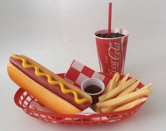 fake food faux diner car hop hot dog w/fries and coke basket ships free in the usa