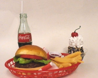 Fake food car hop diner Jumbo Cheeseburger w/bottle coke & sundae