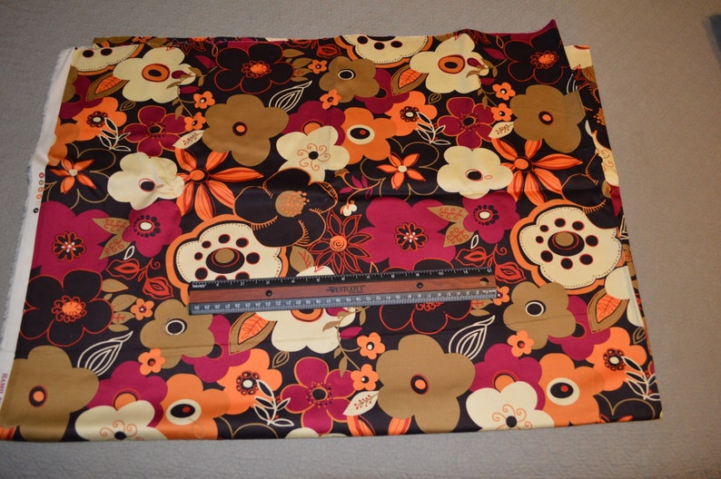 Destash C-24 One Full Yard Of Brown Floral Mod Print Cotton Quilting Fabric
