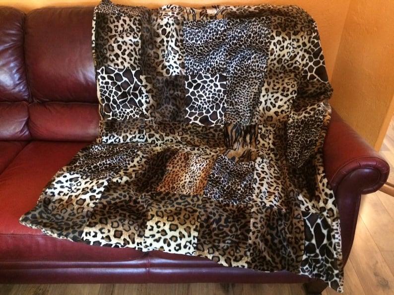 Ready to Ship Leopard Tiger Plush Soft Patchwork Giraffe Cheetah Great Gift Faux Fur Throw Animal Print Wild Handmade