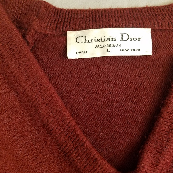 Vintage Dior Men's Sweater (Burgundy, Large, Acryl