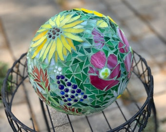 Custom listing for Anne Swenson California Wildflowers Mosaic Gazing Ball, Garden Ball, Garden Art, Gazing Ball, made to order