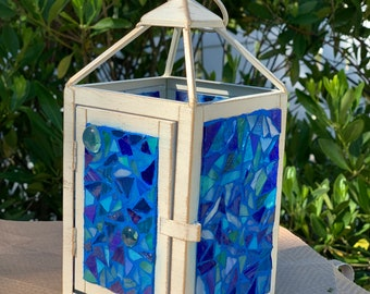Stained glass mosaic lantern in ocean shades of blues, mosaic lantern