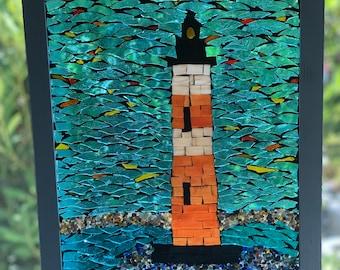 Lighthouse Suncatcher, stained glass mosaic lighthouse, Morris Island Lighthouse Charleston, SC