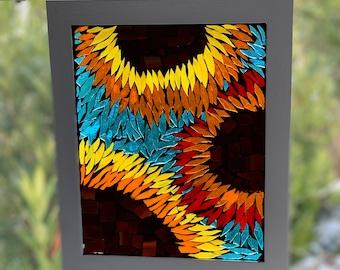 Sunflower mosaic suncatcher, stained glass sunflower suncatcher