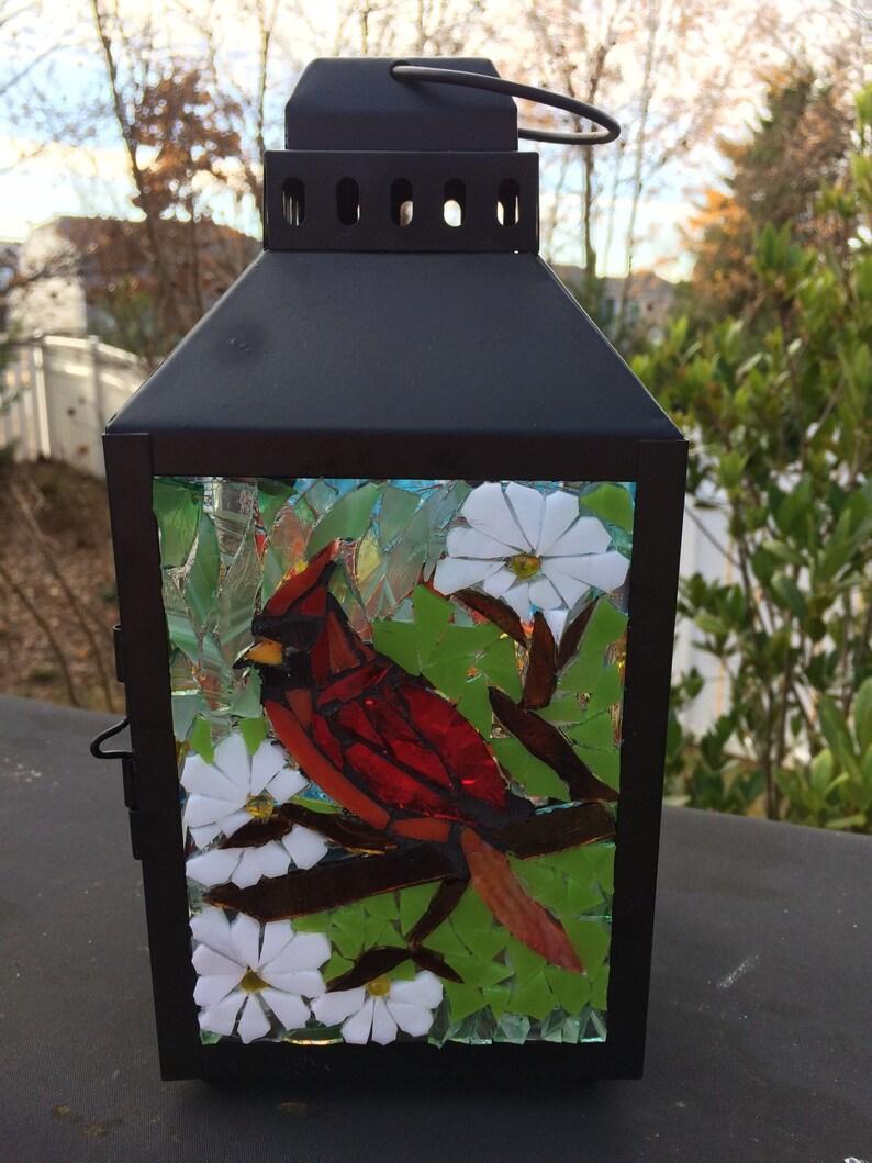 Mosaic cardinal lantern Garden lantern stained glass mosaic image 0