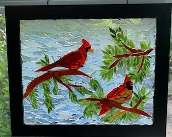 Stained glass mosaic cardinal suncatcher, cardinal mosaic, cardinal stained glass