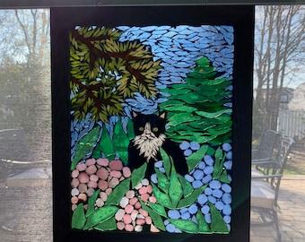 Mosaic Cat Suncatcher, Cat stained glass portrait, Garden cat art